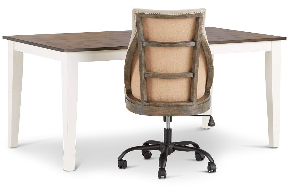 Sumter White Desk And Chair,  (2)