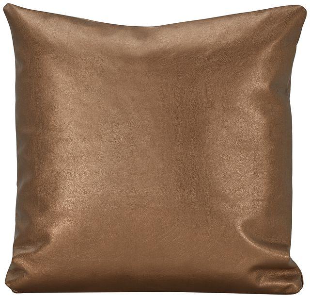 Sizzle Copper Vinyl Square Accent Pillow