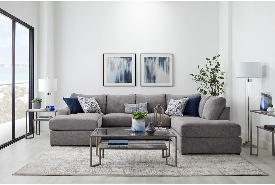 Banks Gray Fabric Right Bumper Sectional,  (1)