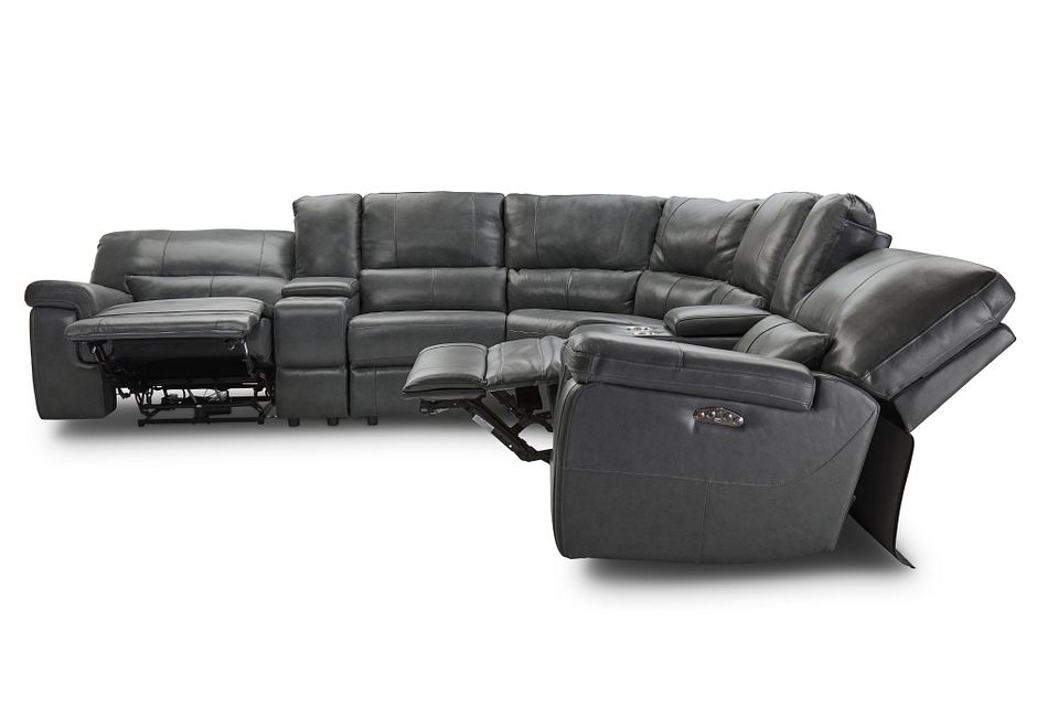 Weston Dark Gray Lthr/vinyl Large Two-arm Power Reclining Sectional
