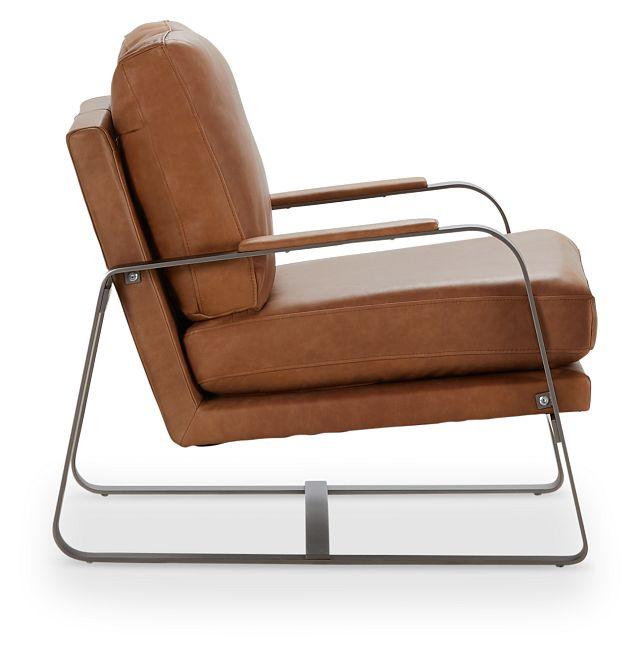Lex Brown Leather Accent Chair (2)