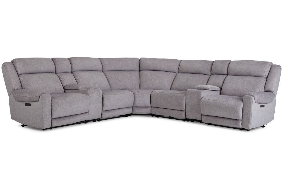 Beckett Gray Micro Large Dual Power Reclining Two-Arm Sectional,  (1)