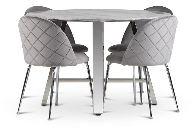 Capri Stainless Steel Gray Round Table & 4 Upholstered Chairs