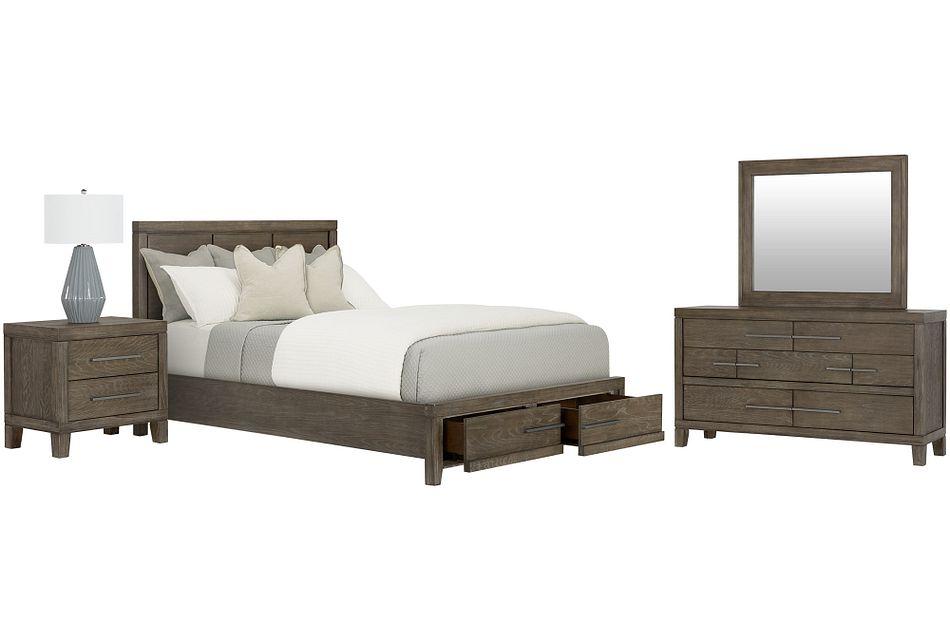 Bravo Dark Tone Wood Platform Storage Bedroom