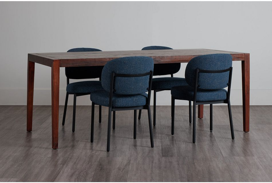 Chicago Dark Tone Rect Table & 4 Dark Blue Upholstered Chairs,  (0)