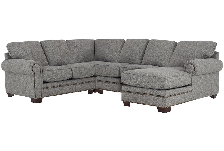 Foster Gray Fabric Medium Right Chaise Sectional