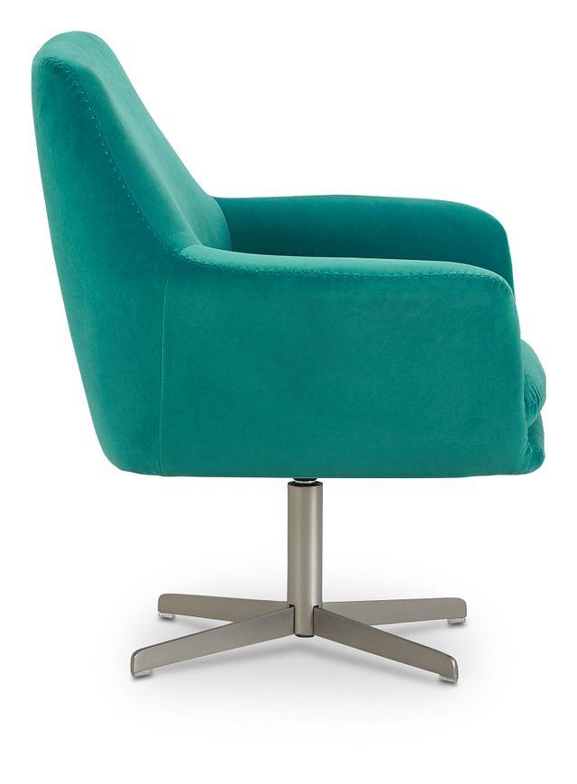 Xander Teal Velvet Swivel Accent Chair (2)