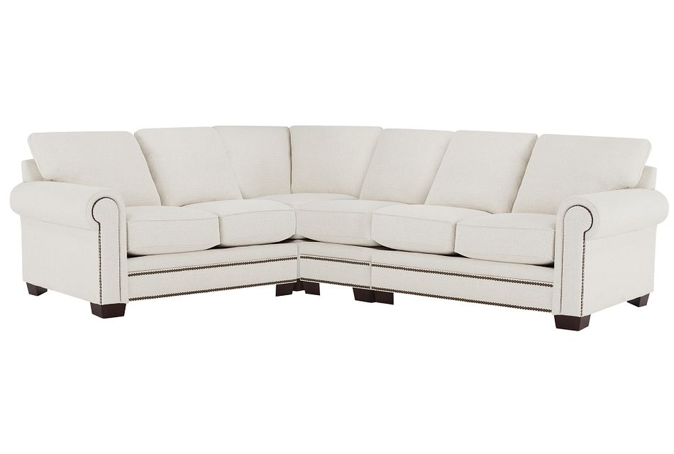 Foster White Fabric Large Two-arm Sectional