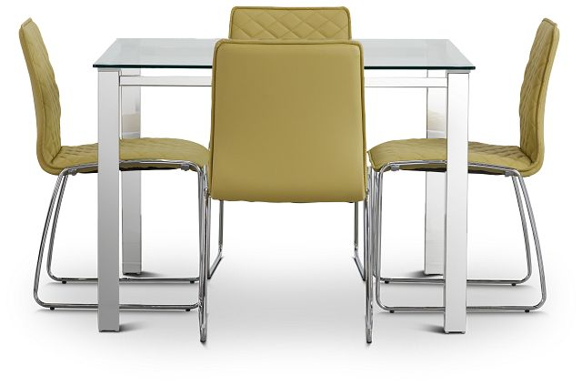 Skyline Light Green Square Table & 4 Metal Chairs (3)