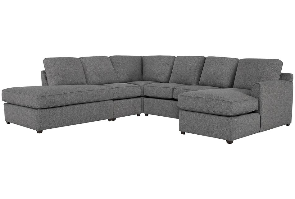 Asheville Gray Fabric Large Left Bumper Sectional