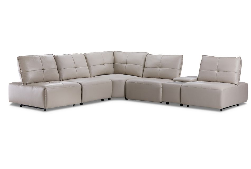 Trice Taupe Lthr/vinyl Medium Sectional