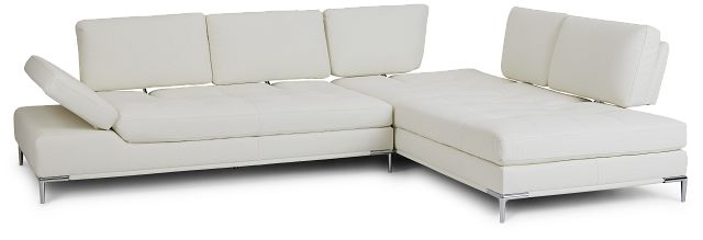 Camden White Micro Right Chaise Sectional (3)