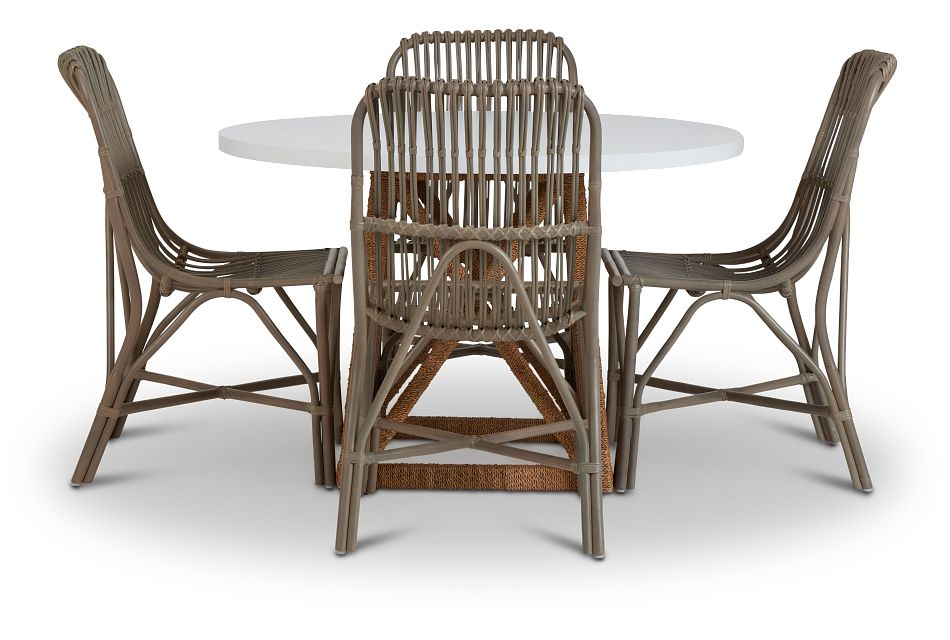 Greenwich Two-Tone Round Table & 4 Gray Rattan Chairs,  (2)