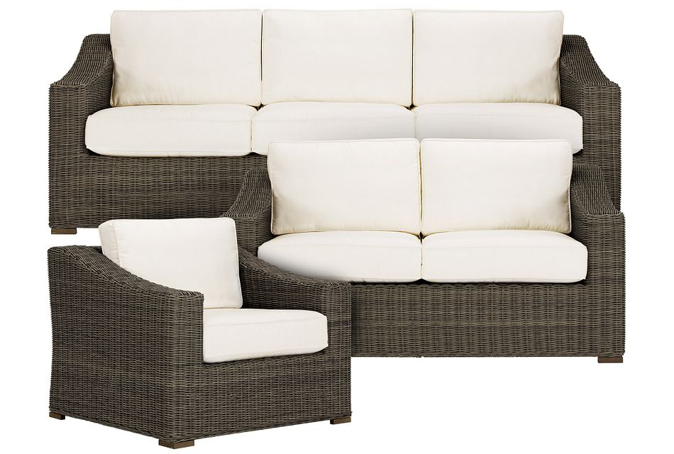 Canyon Gray White Outdoor Living Room Set