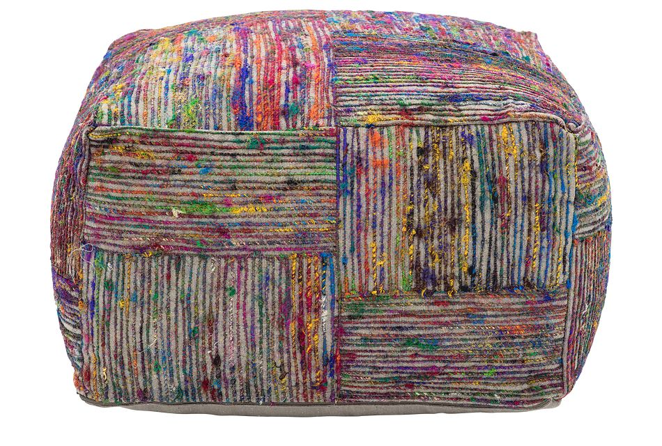 Silk Multicolored Large Accent Pouf