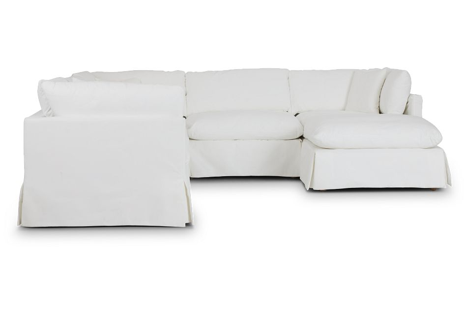 Raegan White Fabric Small Right Chaise Sectional,  (2)