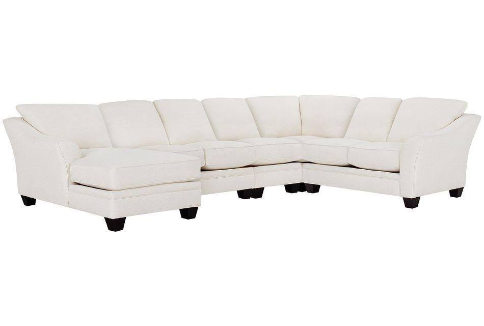 Avery White Fabric Large Left Chaise Sectional
