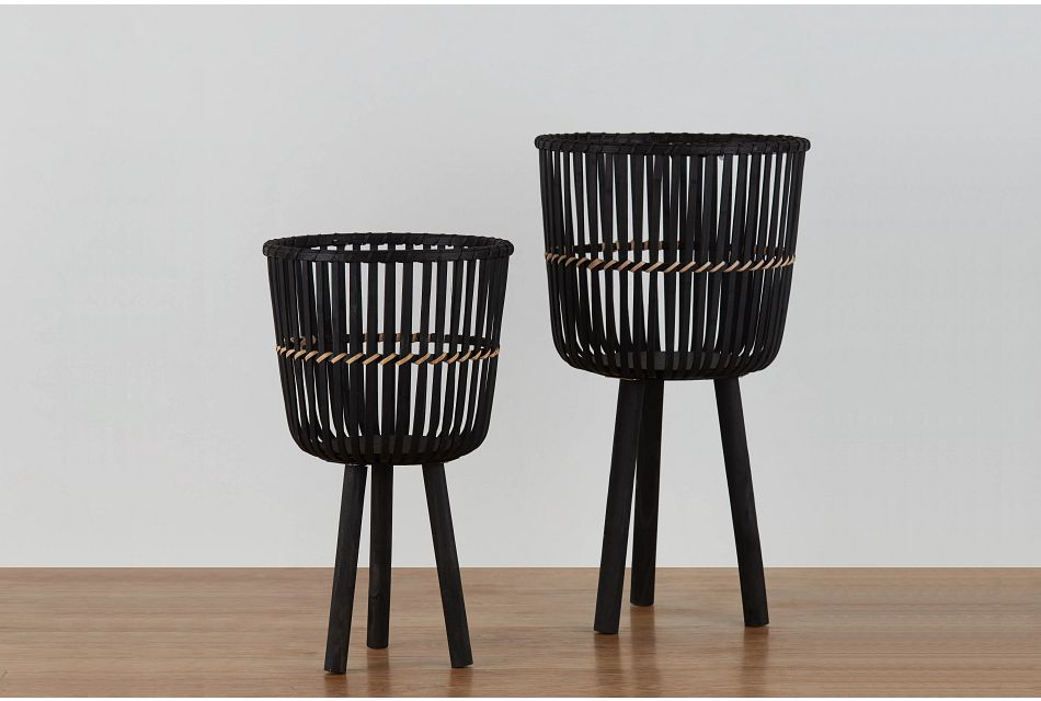 Bamboo Black Set Of 2 Plant Stand