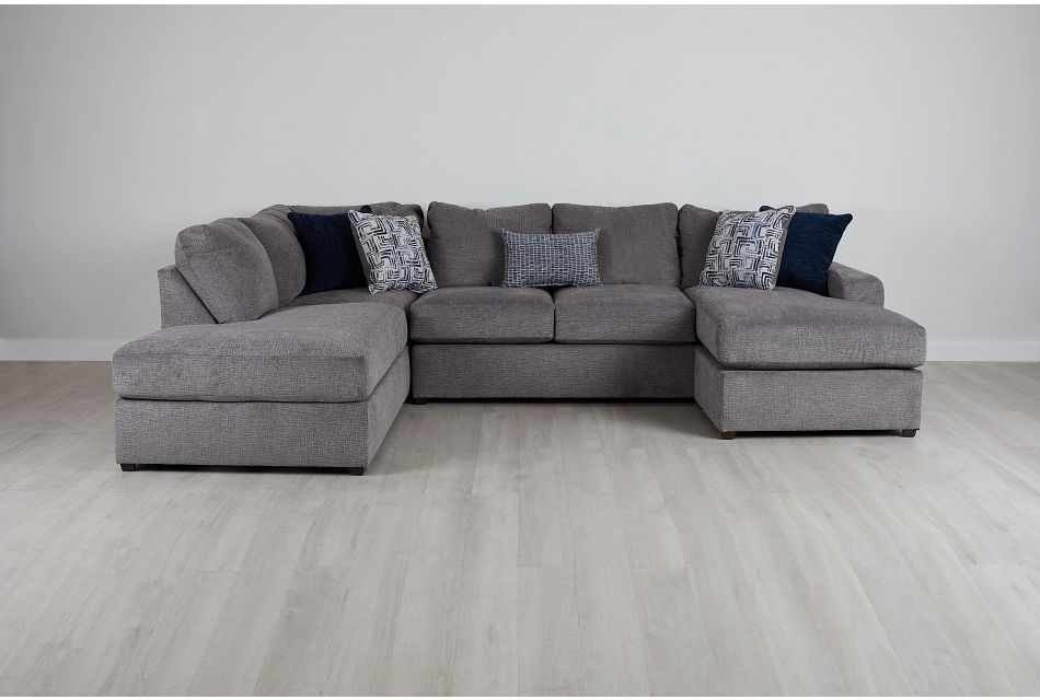 Banks Gray Fabric Left Bumper Sectional,  (0)