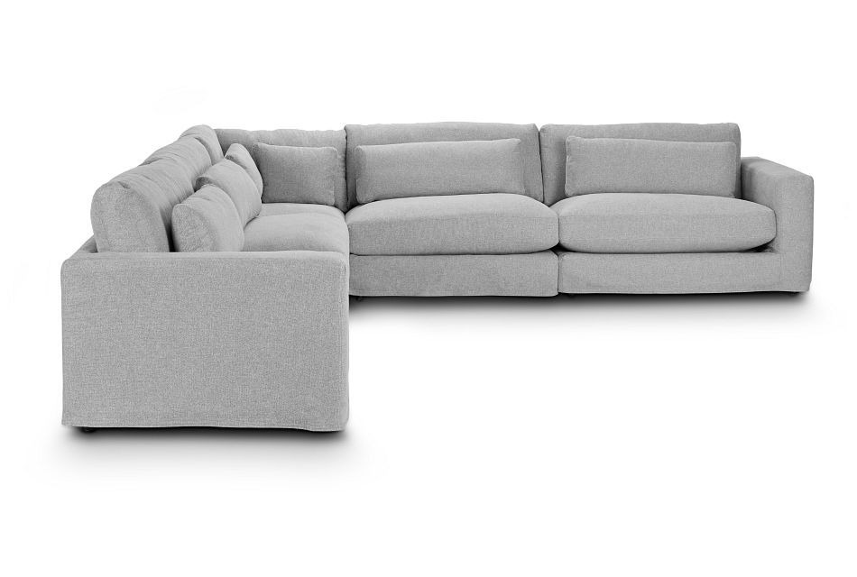 Cozumel Light Gray Fabric 5-Piece Modular Sectional, %%bed_Size%% (1)