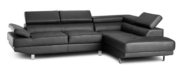 Zane Black Micro Right Chaise Sectional (2)