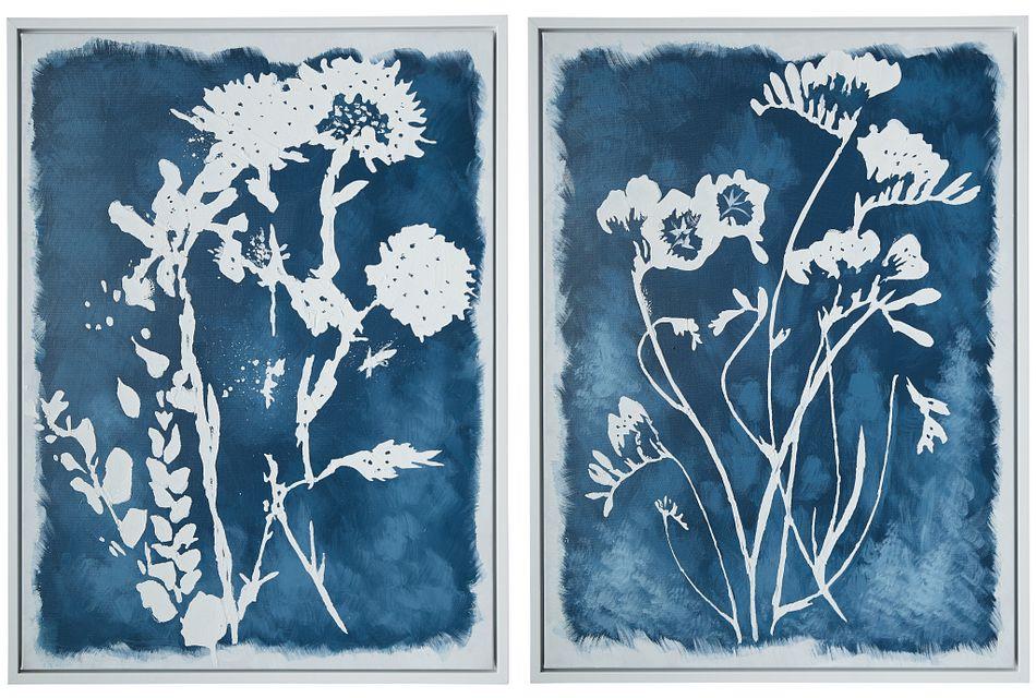 Tigerlilly Blue Set Of 2 Framed Wall Art