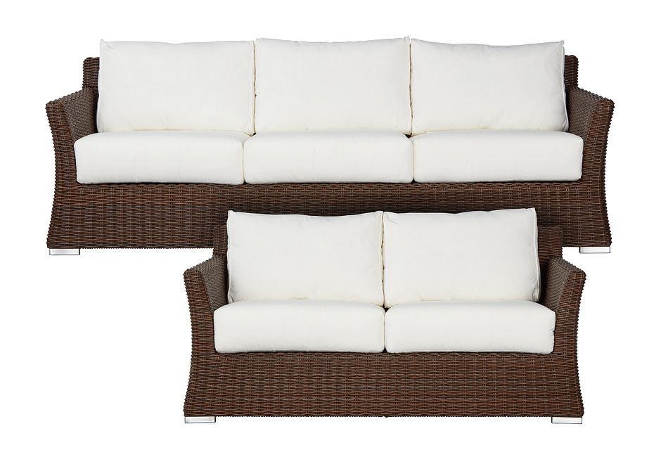 Southport White Woven Outdoor Living Room Set