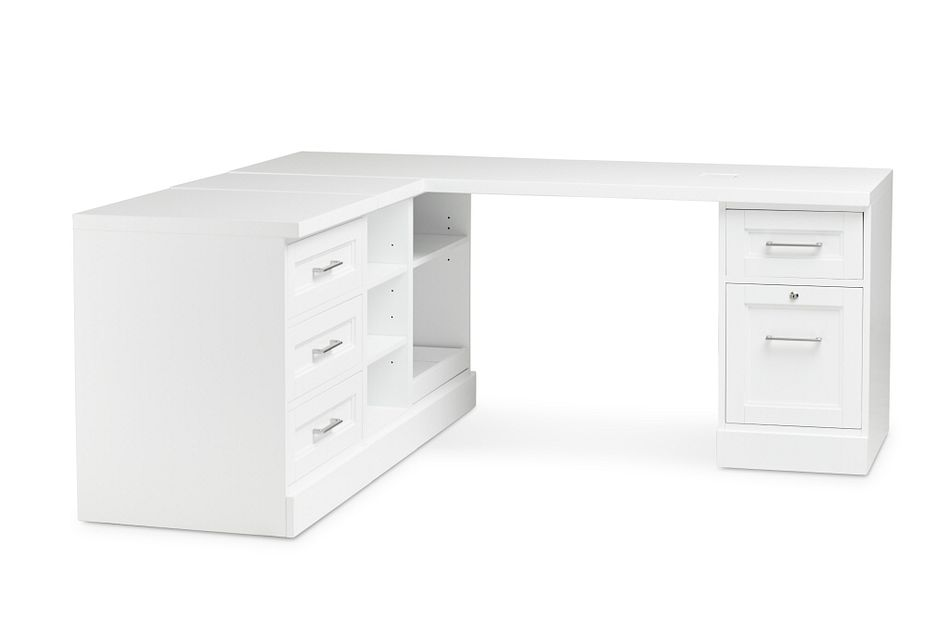 Newport White  L Desk,  (1)