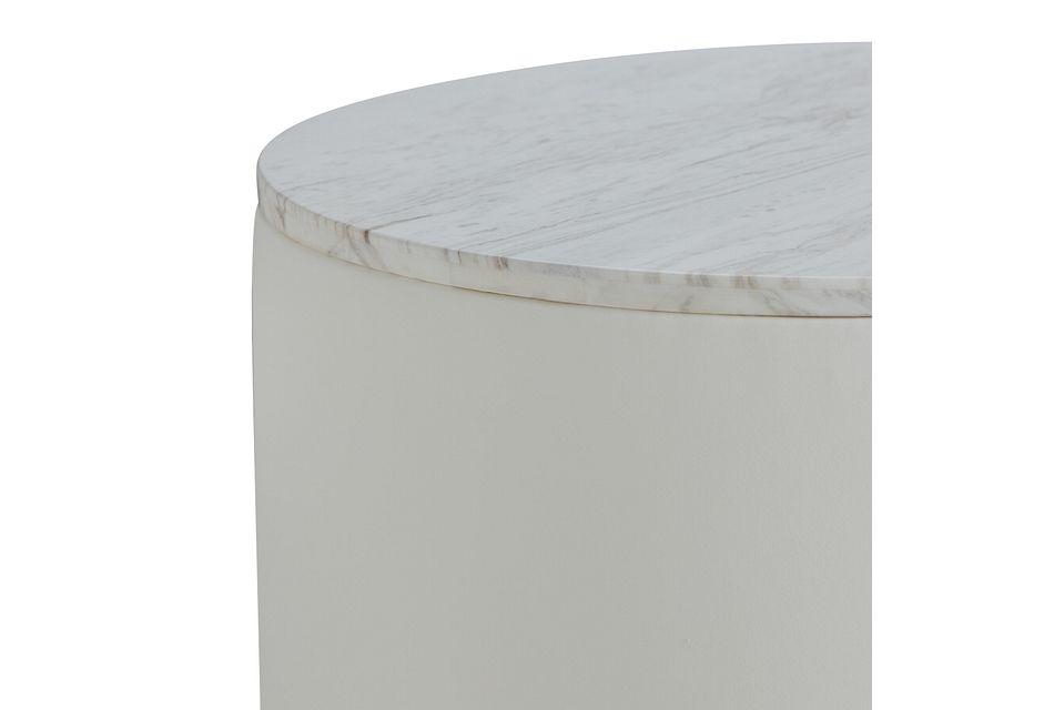 Ocean Drive White Marble Round End Table