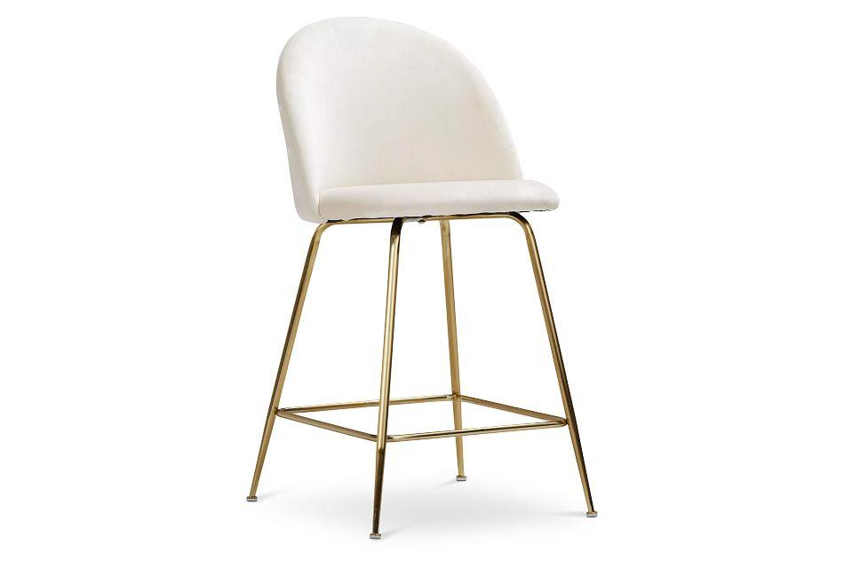 """Capri Ivory Upholstered 24"""" Barstools W/gold Legs"""