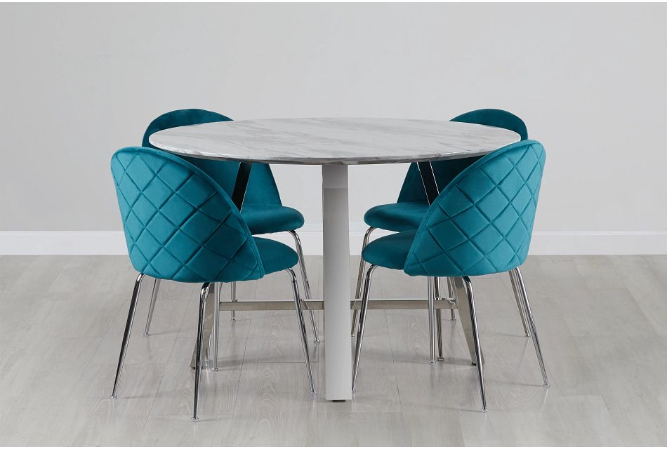 Capri Stainless Steel Dk Teal Round Table & 4 Upholstered Chairs