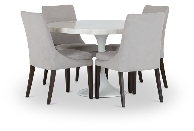 """Violet Light Gray 48"""" Round Table & 4 Upholstered Chairs"""