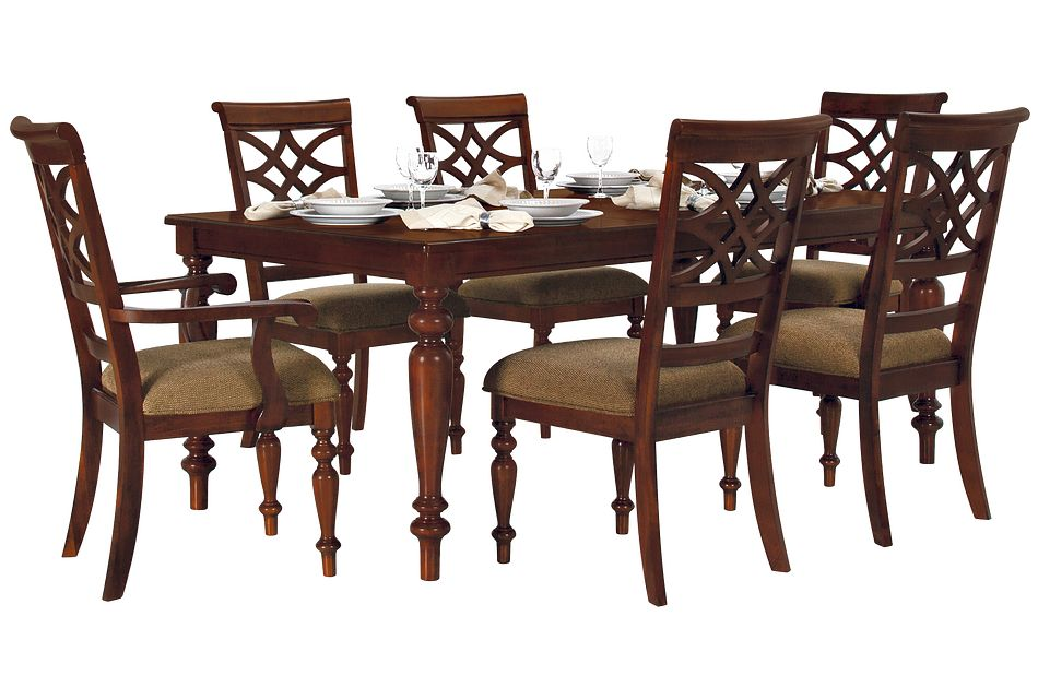 Oxford Mid Tone Rect Table & 4 Wood Chairs,  (1)
