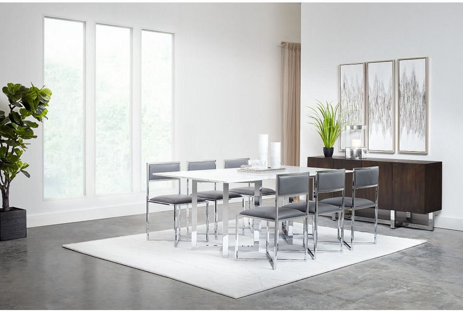 Amalfi Gray Marble Rectangular Table & 4 Metal Chairs