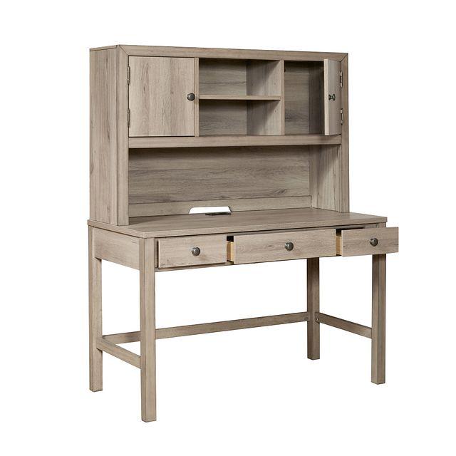 Rivercreek Gray Wood Desk And Hutch (1)