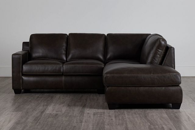 Carson Dark Brown Leather Right Bumper Sectional (0)