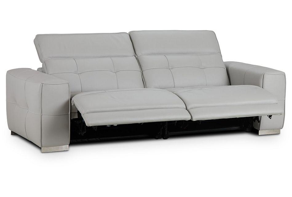 Reva Gray Leather Power Reclining Sofa