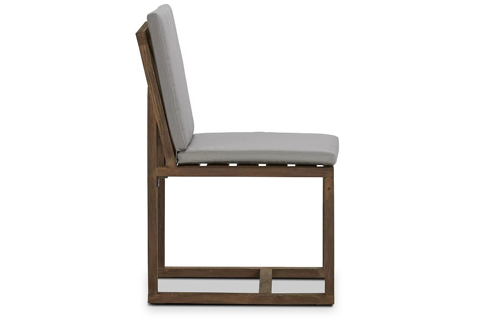 Linear Teak Dk Gray Side Chair