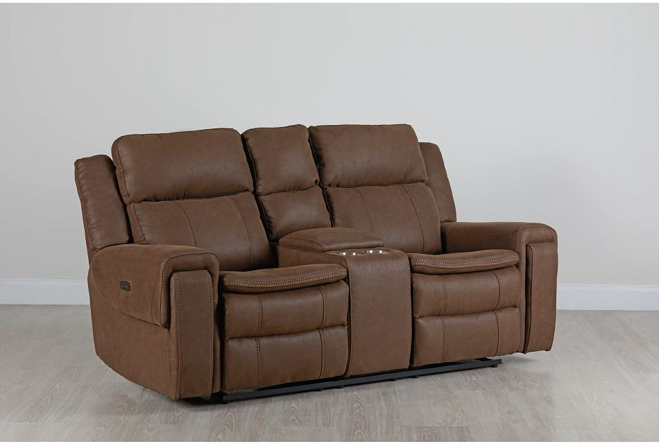 Scout BROWN MICRO Power Reclining Console Loveseat,  (0)