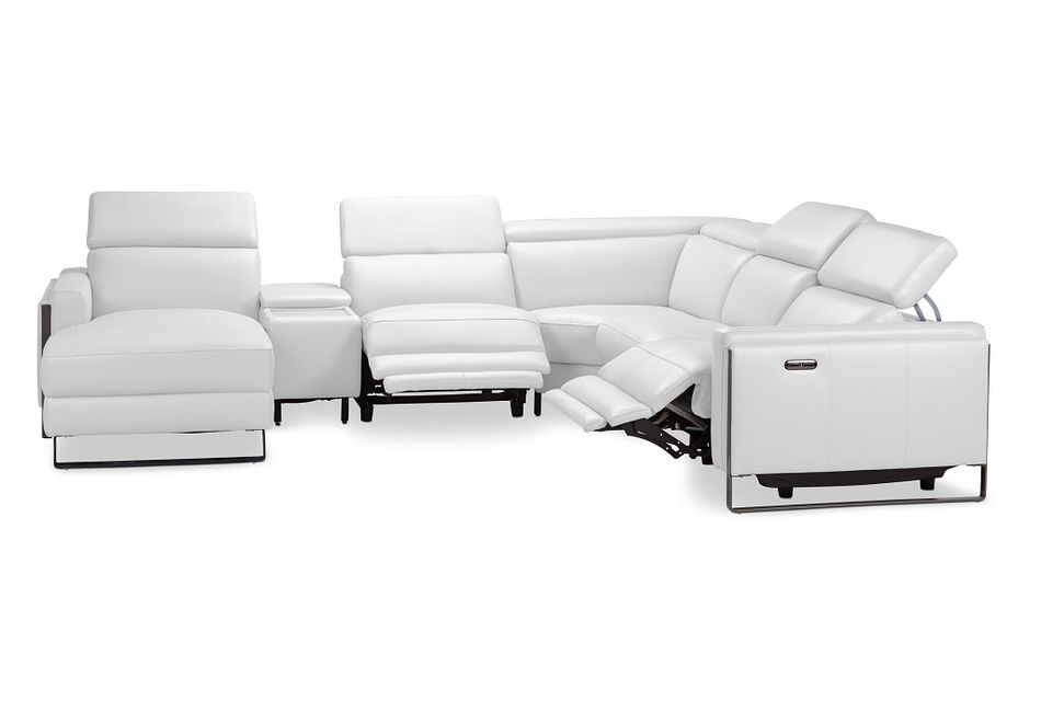 Atlas White Lthr/vinyl Medium Dual Power Left Chaise Sectional