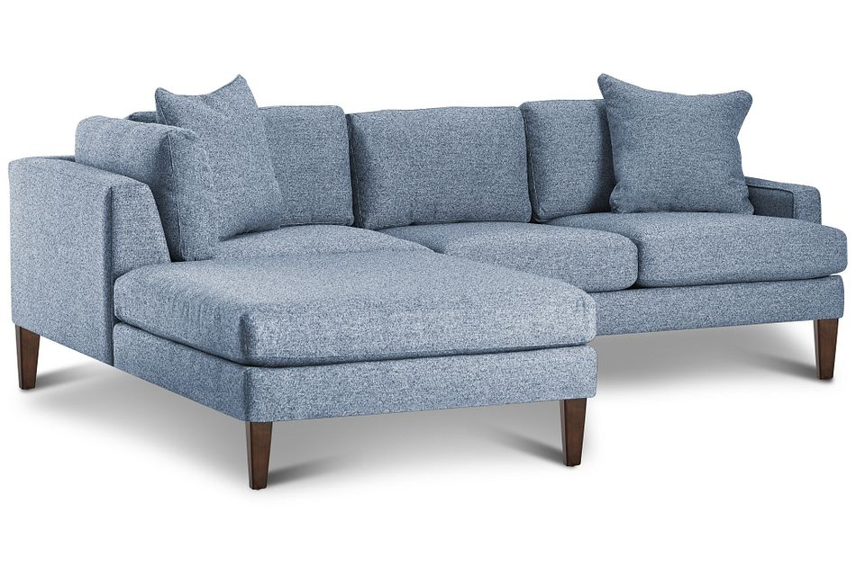 Morgan Blue Fabric Small Left Bumper Sectional W/ Wood Legs