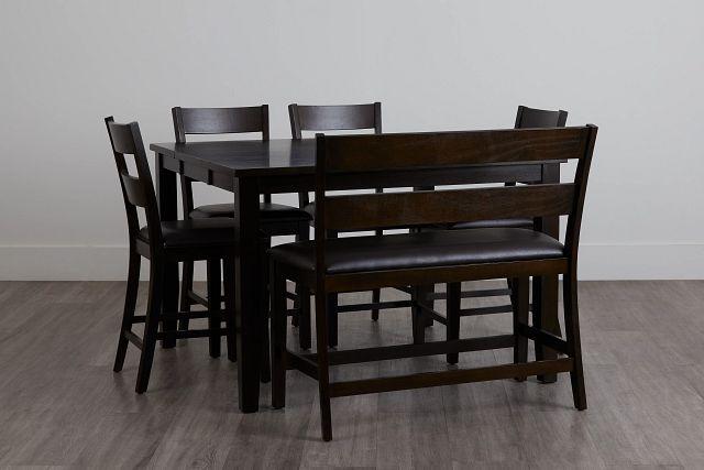 Navarro Dark Tone High Table, 4 Barstools & High Bench (0)