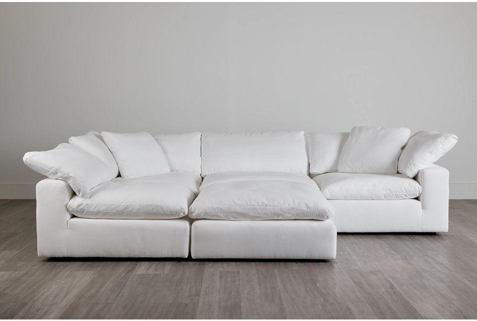 Nixon White Fabric Sectional,  (0)