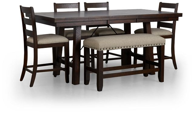 Jax Dark Tone High Table, 4 Barstools & High Bench (3)