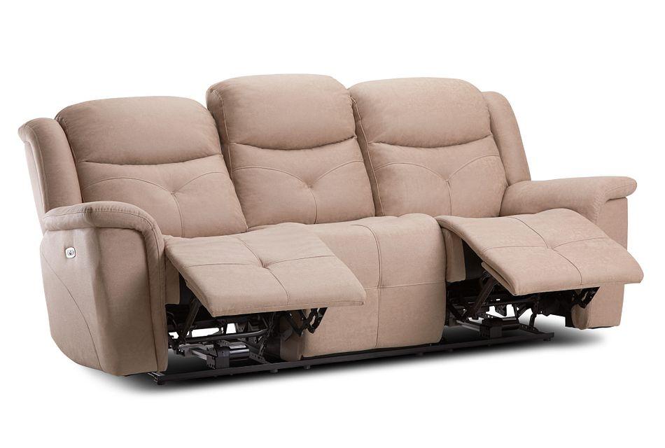 Calvin Taupe Micro Power Reclining Sofa
