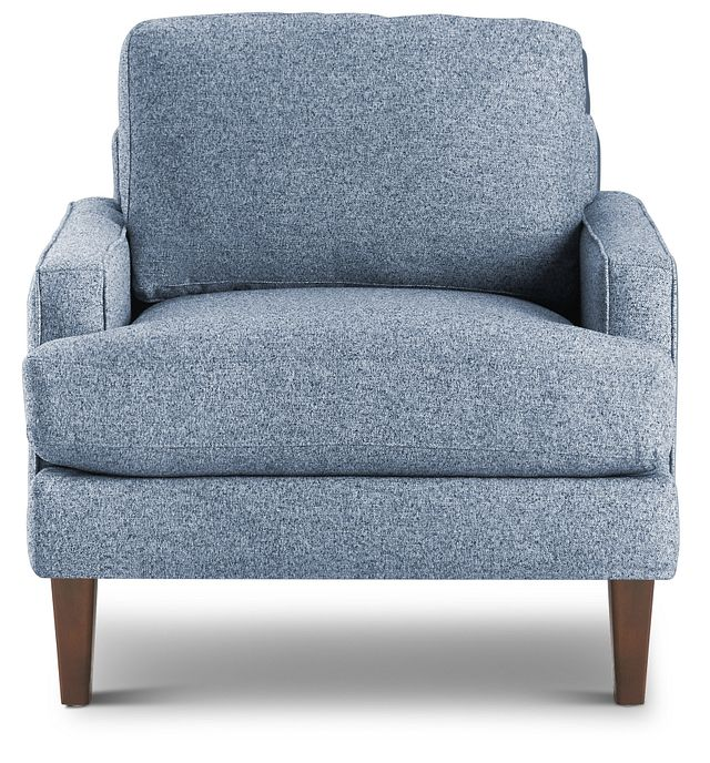 Morgan Blue Fabric Chair With Wood Legs (3)