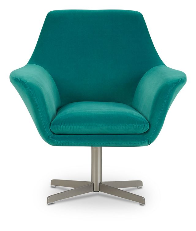 Xander Teal Velvet Swivel Accent Chair (3)