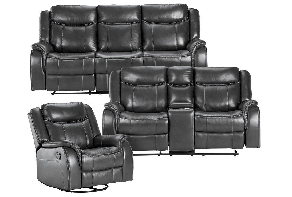 Lowe Dark Gray Micro Manually Reclining Living Room