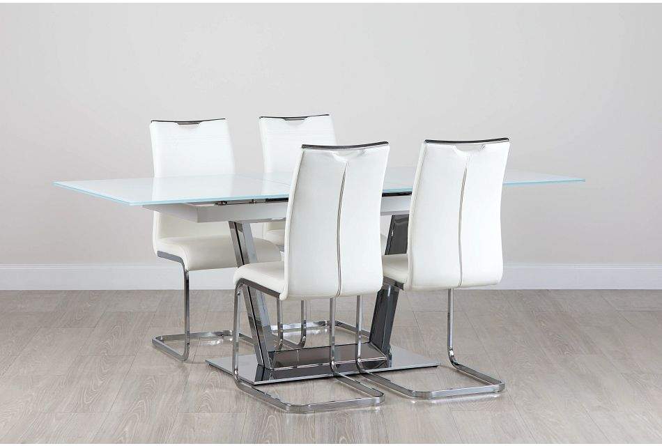 Treviso White Glass Table & 4 Upholstered Chairs