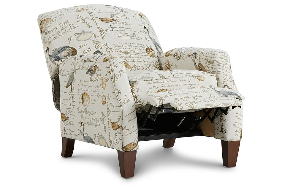 Heron Beige Fabric Push Back Recliner,